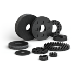 Isolation washers manufactured from Fabreeka, Fabcel or Dimfab material